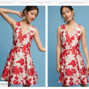 ANTHROPOLOGIE Crimson floral Rose Relief Dress 6